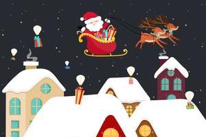 Julhälsningkort med jultomten i släde vektor
