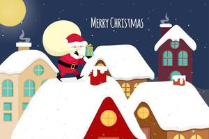 Jul gratulationskort med Santa levererande presenter vektor