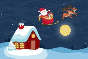 Jul gratulationskort med jultomten och renar. vektor