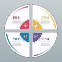 Kreis Infografik Vorlage vier Option vektor