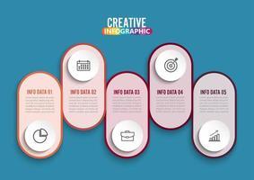 Fünf Schritte Infografiken. vektor