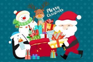 Jul gratulationskort med jultomten och presenter vektor