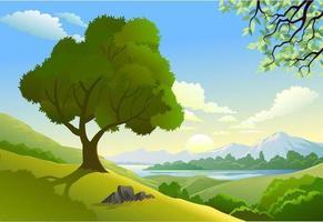 Baum auf dem Gebiet vektor