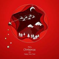 Jultomten som kommer till landsbygden på röd papperskonstbakgrund vektor