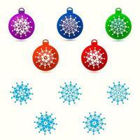 Uppsättning av julgranskulor och snöflingor