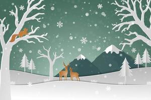 Hjortfamilj med vintersnö i abstrakt bakgrund för skog