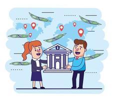 Frau und Mann mit digitaler Bank und Rechnungen