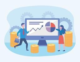 Geschäftsmann und Geschäftsfrau mit Computer- und Diagramminformationen vektor