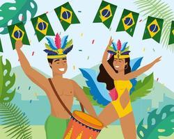 Tänzerinnen und Tänzer mit Trommel und Kostüm vektor