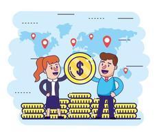 Frau und Mann mit Münzen der globalen Finanzierung