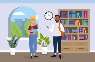 Universitätsmädchen und -junge mit Büchern im Klassenzimmer