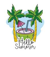 kokosnöt med tropiska palmer till sommarlovet