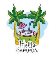 Kokosnuss mit tropischen Palmen zu den Sommerferien vektor