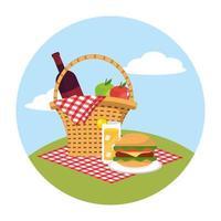 Korb mit Wein und Äpfeln in der Tischdecke Dekoration vektor