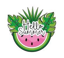 tropische Wassermelonenfrucht mit Blättern im Sommer vektor
