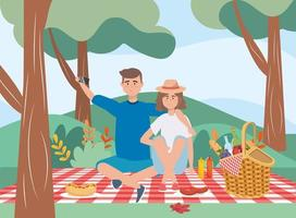 Mann und Frau in der Tischdecke mit Korb und Essen vektor