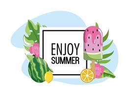 fyrkantiga emblem med vattenmelon is lolly och blad vektor