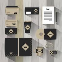 Uppsättning av stationär mall för affärsföretag med dokument