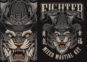 Vektorillustration med tiger i en samurajhjälm