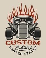 T-Shirt Design mit einem Hot Rod vektor
