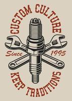 Illustration med korsade skiftnycklar och tändstift