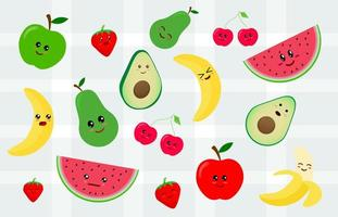 Uppsättning av kawaii-klistermärke eller lapp med fruktmat