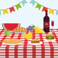Tisch mit Wein und gesunden Früchten in der Tischdecke vektor