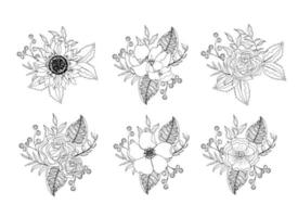 Set Blumen und Rosen Pflanzen mit Blättern