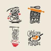Satz des Kochens des Zitataufklebers, der Typografie und des Beschriftungsvektors vektor