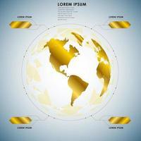 gyllene världen lyxiga digitala data infographic vektor