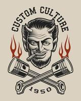 Vektorillustration av en djävul med korsade kolvar
