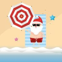 Sommerferienurlaub mit Weihnachtsmann vektor