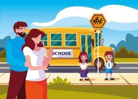 föräldrar farväl till barn i skolbussen