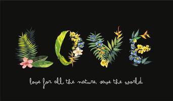 kärlek bildad med exotiska blommor och blad vektor