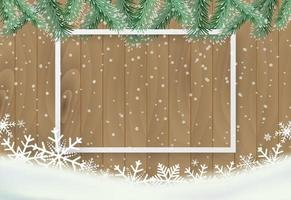 Weihnachtshintergrund mit Schneeflocke auf hölzernem und weißem Rahmen vektor