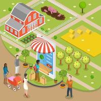 Flaches isometrisches Konzept der Online-Bestellung des biologischen Lebensmittels