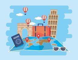 Globale Kartenposition mit Luftballons und Reisepass vektor