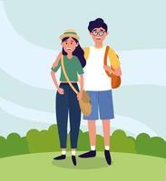 Hochschulfrau- und -mannpaare mit Rucksack
