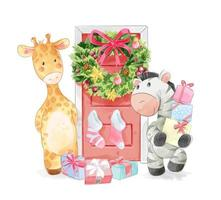 djurvänner med juldörr dekorerad