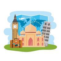Weltkarte und internationales Reiseziel vektor