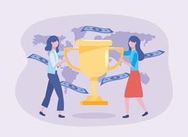 Geschäftsfrauen mit Pokalpreis und Rechnungen mit Weltkarte