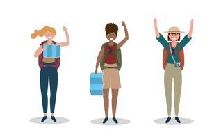 Reihe von Frauen tragen Hut mit Rucksack und globale Karte