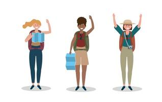 uppsättning kvinnor som bär hatt med ryggsäck och global karta