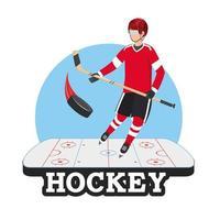 Hockeyspieler mit Stock und Puck in der Eisbahn