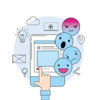 Emojis-Nachricht mit Smartphone-Website-Medien vektor