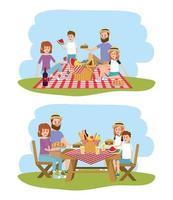 familj tillsammans med korg till picknick rekreation vektor