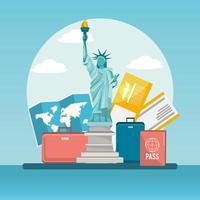 Freiheitsstatue Trabel mit Gepäck und Reisepass