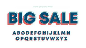 Abstrakt fet rödblå huvudstyp typografi vektor