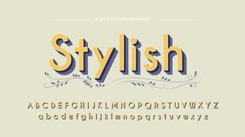 Gul 3D Sans Serif med prickmönster typografi vektor