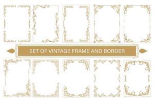 uppsättning vintage ramar och kant med vackra filigran vektor